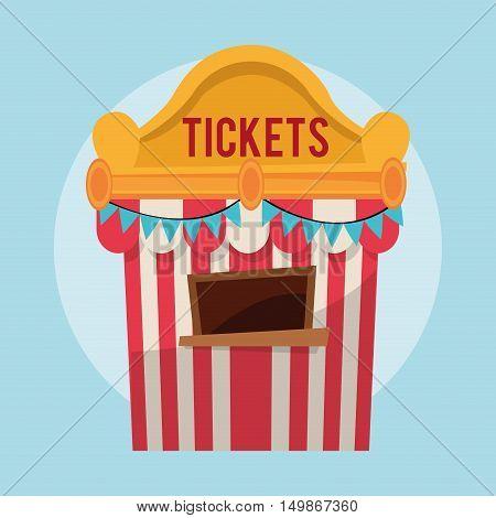 striped ticket tent icon. Carnival festival fair circus and celebration theme. Colorful design. Vector illustration
