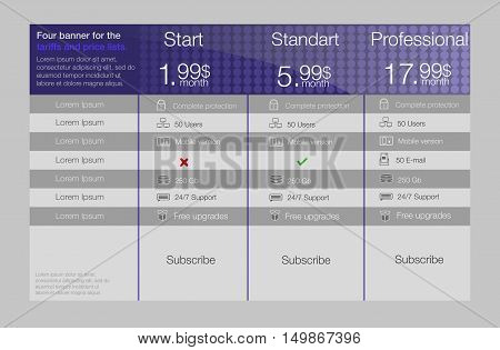 Tariffs and price list. Web elements. Plan hosting. Vector design for web app. Pricing table, banner, button, list and bullet.