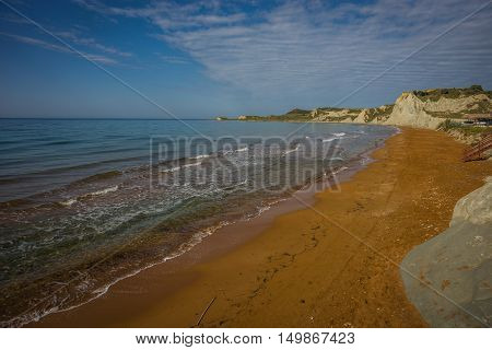 Stunning Red Sand And White Rocks On Ksi Beach  On Kefalonia, Greece