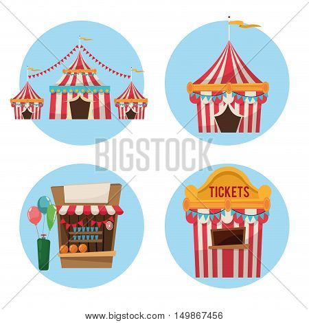striped ticket tent balloons and stand icon. Carnival festival fair circus and celebration theme. Colorful design. Vector illustration