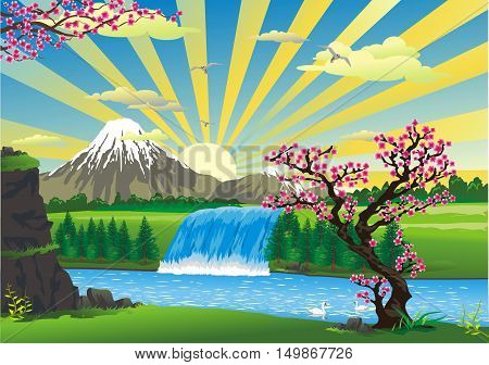 Landscape - sunrise over Japan. The cherry blossoms, a mountain waterfall. Mount Fuji. Japanese Palace, pagoda. Vector illustration