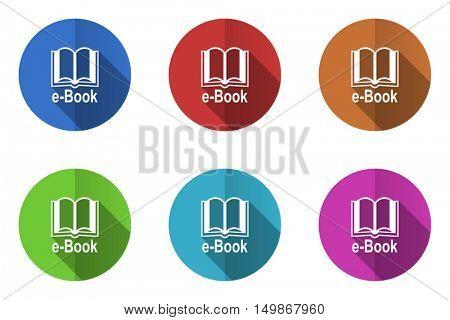 Flat design vector icons. Colorful e-book web buttons set.