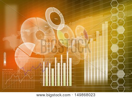 Digital background image with graphs and diagrams