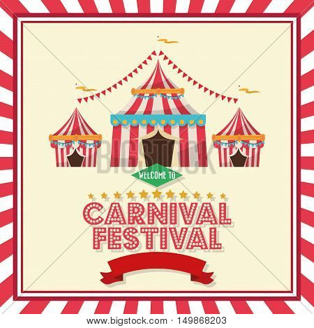 striped tent icon. Carnival festival fair circus and celebration theme. Colorful and frame design. Vector illustration