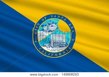 Flag of Santa Ana is the city in Orange County of California United States. 3D illustration