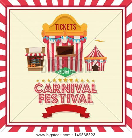 striped ticket tent and stands icon. Carnival festival fair circus and celebration theme. Colorful and frame design. Vector illustration