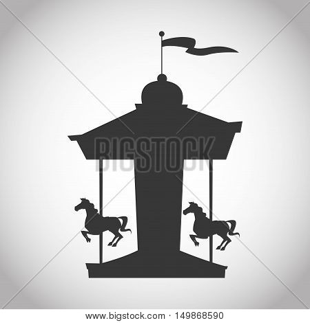 Carousel icon. Carnival festival fair circus and celebration theme. Isolated and silhouette design. Vector illustration