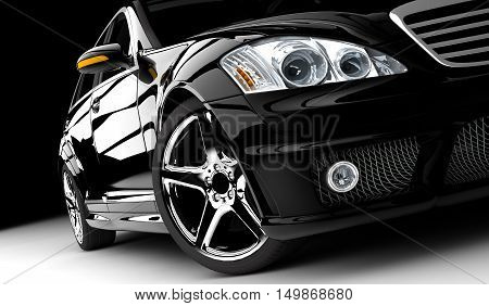 3D illustration of a black generic sport car