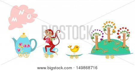 Cute Cartoon English Alphabet With Colorful Image. Teapot And Cups Train. Kids Vector Abc. Letter M,