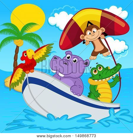 animals on boat ride with monkey on hang glider - vector illustration, eps