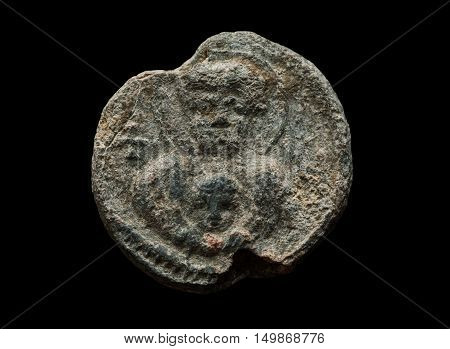 Round Post Seal Of Ancient Times Isolated On Black