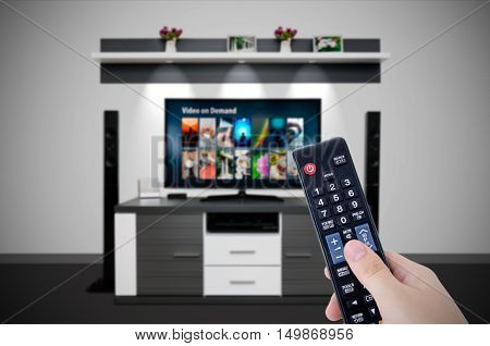 Video On Demand Vod Service In Tv. Watching Television Home Cinema