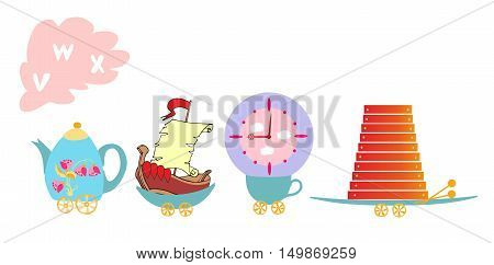 Cute Cartoon English Alphabet With Colorful Image. Teapot And Cups Train. Kids Vector Abc. Letter V,