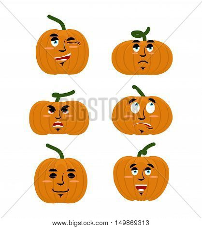 Emotions Pumpkin. Set Expressions Avatar For Halloween. Good And Evil. Discouraged And Cheerful. Fac