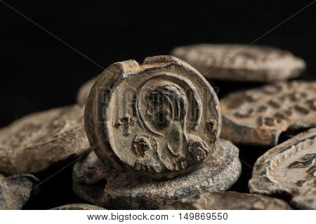 Antique Post Seals Isolated On Black