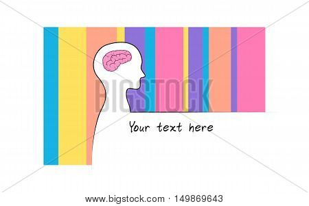 Abstract sillhouette of person with rainbow colour background. Intelligence brain symbol. White version. Showing of intelligence. Innovation text