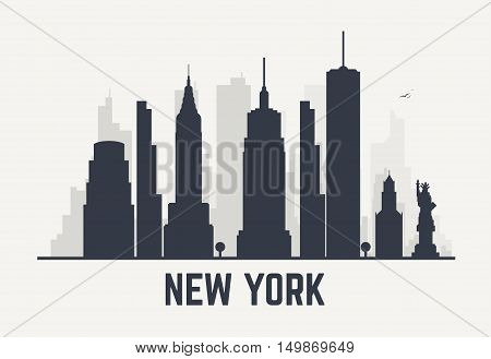 New York city architecture skyline black silhouette. Line pixel style art.