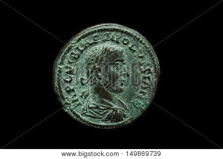 Antique Roman Provincial Copper Coin With Portrait Of Emperor