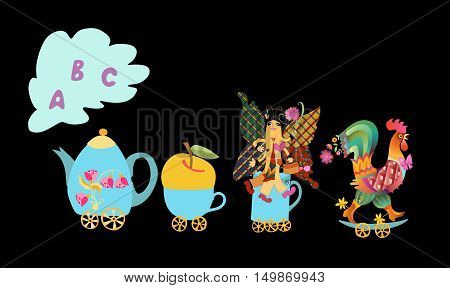 Cute Cartoon English Alphabet With Colorful Image. Teapot And Cups Train. Kids Vector Abc. Letter A,