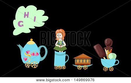 Cute Cartoon English Alphabet With Colorful Image. Teapot And Cups Train. Kids Vector Abc. Letter G,