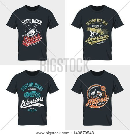 Vintage American hot rod, shark, motorcycle, moped old grunge effect tee print vector design illustration. Premium quality superior wild fish, bike, scooter retro logo concept.