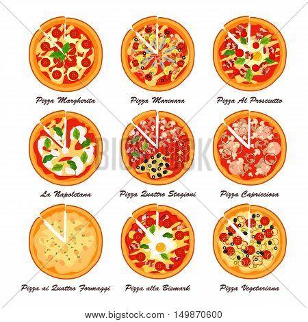 Set of italian pizza. Creative vector illustration. Designed to logo, label, emblem design for restaurant, snack bar or pizzeria menu.