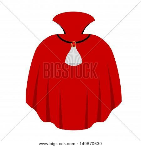Red cape of Dracula isolated. Vampire Mythical clothing