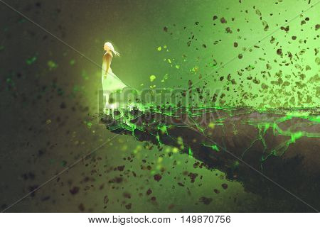 woman standing lonely on the edge of a cliff with explosion effect, illustration painting