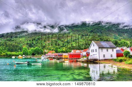 Harbor in Lustrafjorden fjord, Solvorn village in Norway