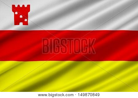 Flag of Santa Barbara is the county seat of Santa Barbara County in state of California United States. 3D illustration
