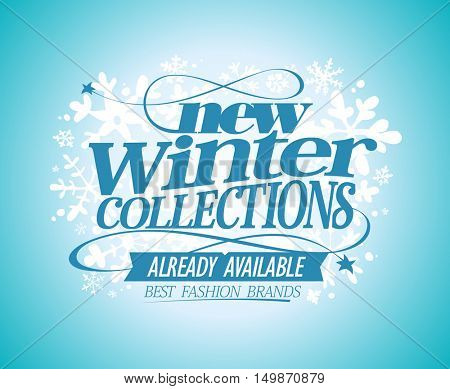 Fashion poster New winter collections already available, best fashion brands, rasterized version