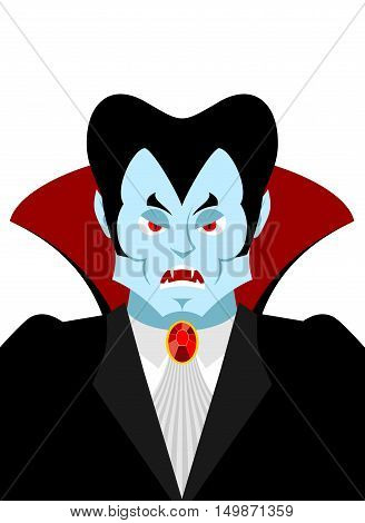 Dracula vampire lord portrait. Horrible ferocious character. Illustration for Halloween
