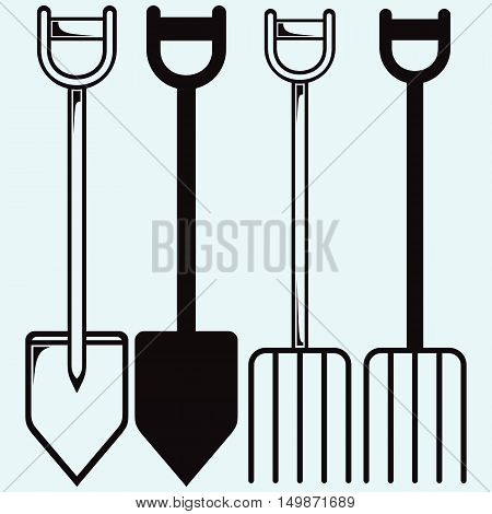 Spade and pitchfork. Isolated on blue background. Vector silhouettes