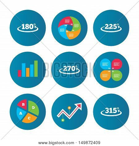 Business pie chart. Growth curve. Presentation buttons. Angle 180-315 degrees icons. Geometry math signs symbols. Full complete rotation arrow. Data analysis. Vector