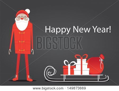 Santa Claus and sleigh with Christmas gift packs. Vector illustration with copy space