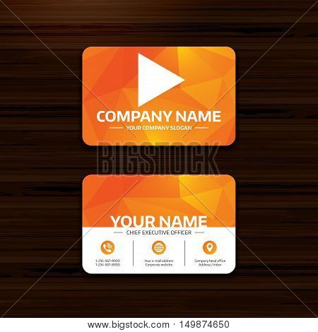 Business or visiting card template. Arrow sign icon. Next button. Navigation symbol. Phone, globe and pointer icons. Vector