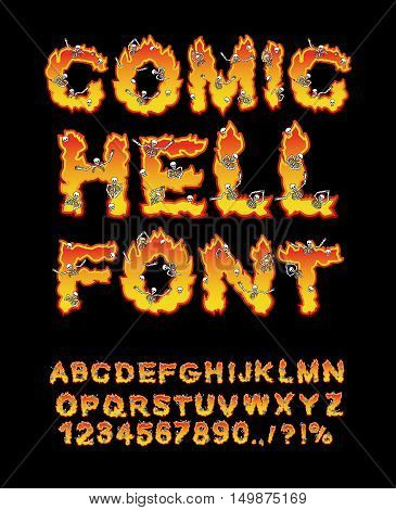 Comic Hell Font. Inferno Abc. Fire Letters. Sinners In Hellfire. Hellish Alphabet. Scrape Down Flame