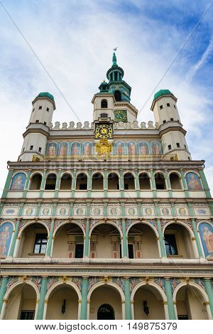 Renaissance town hall in Poznan built in 1300. Public Building. Poland Europe.