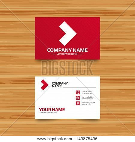 Business card template. Arrow sign icon. Next button. Navigation symbol. Phone, globe and pointer icons. Visiting card design. Vector