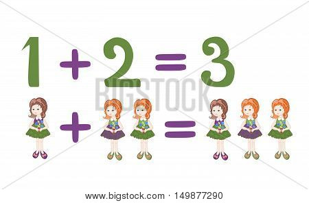 Cartoon illustration of mathematical addition and subtraction. Examples with cute little girls. Educational game for children.