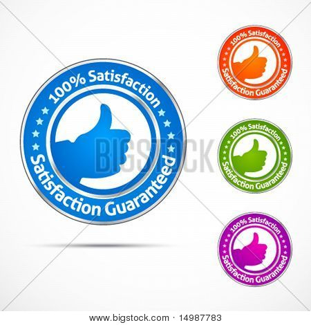 Colorful satisfaction guaranteed buttons