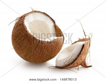 Coconut. Chopped coconut isolated on white background