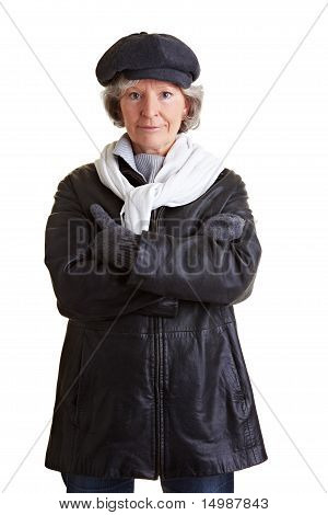 Retired Woman In Winter Clothing