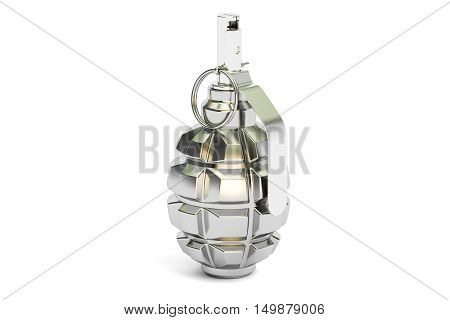Silver Grenade 3D rendering isolated on white background