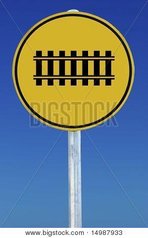 Train Tracks Sign