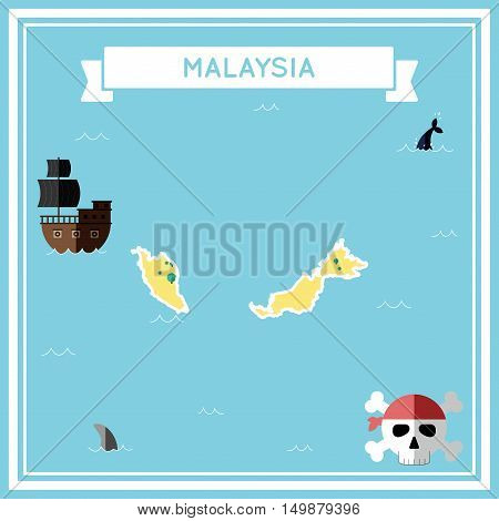 Flat Treasure Map Of Malaysia. Colorful Cartoon With Icons Of Ship, Jolly Roger, Treasure Chest And