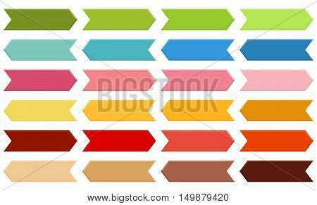 Big set of arrows in shades of green blue pink orange red and brown with 3d effect isolated on white
