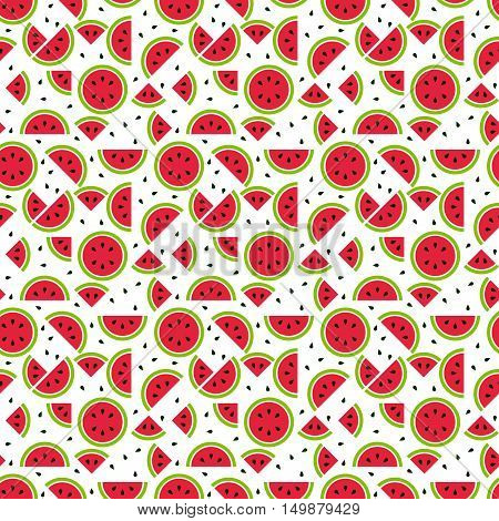 Seamless watermelon pattern tileable and endless seasonal melon pattern with part of melon and seeds