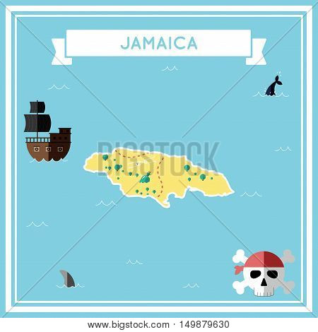 Flat Treasure Map Of Jamaica. Colorful Cartoon With Icons Of Ship, Jolly Roger, Treasure Chest And B