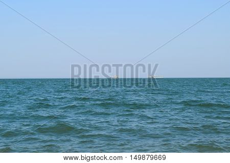 Seascape And Two Ships On The Horizon